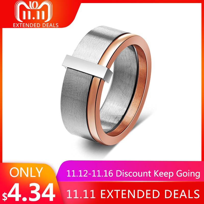 Effie Queen Smooth Surface Women's 316L Stainless Steel Ring Trendy Unique Design Female Rings New Arrival Trendy Jewelry IR58 pair of trendy solid color smooth surface cylinder shaped cufflinks for men