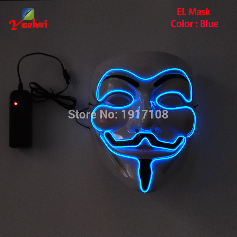 ᗛHOT Sales EL wire Masks Halloween Blue Vendetta Mask glowing EL ...