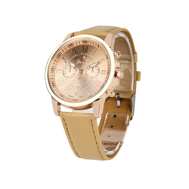 Women's Geneva Roman Numerals Faux Leather Analog Quartz Watch  women watches bracelet watch ladies #TX4