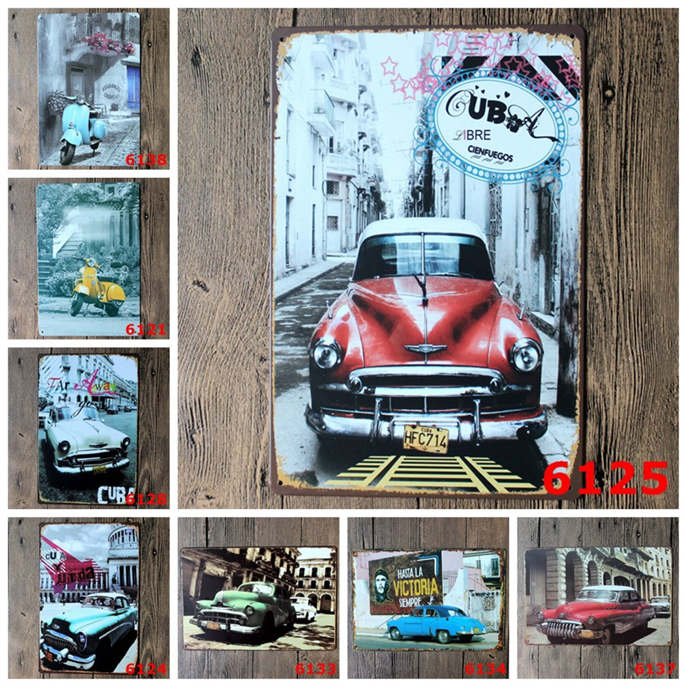 New Vintage Metal Tin Signs Famous Buildings And Car Retro Plaque Poster Bar Pub Cafe Wall Decoration Home Decor Wholesale