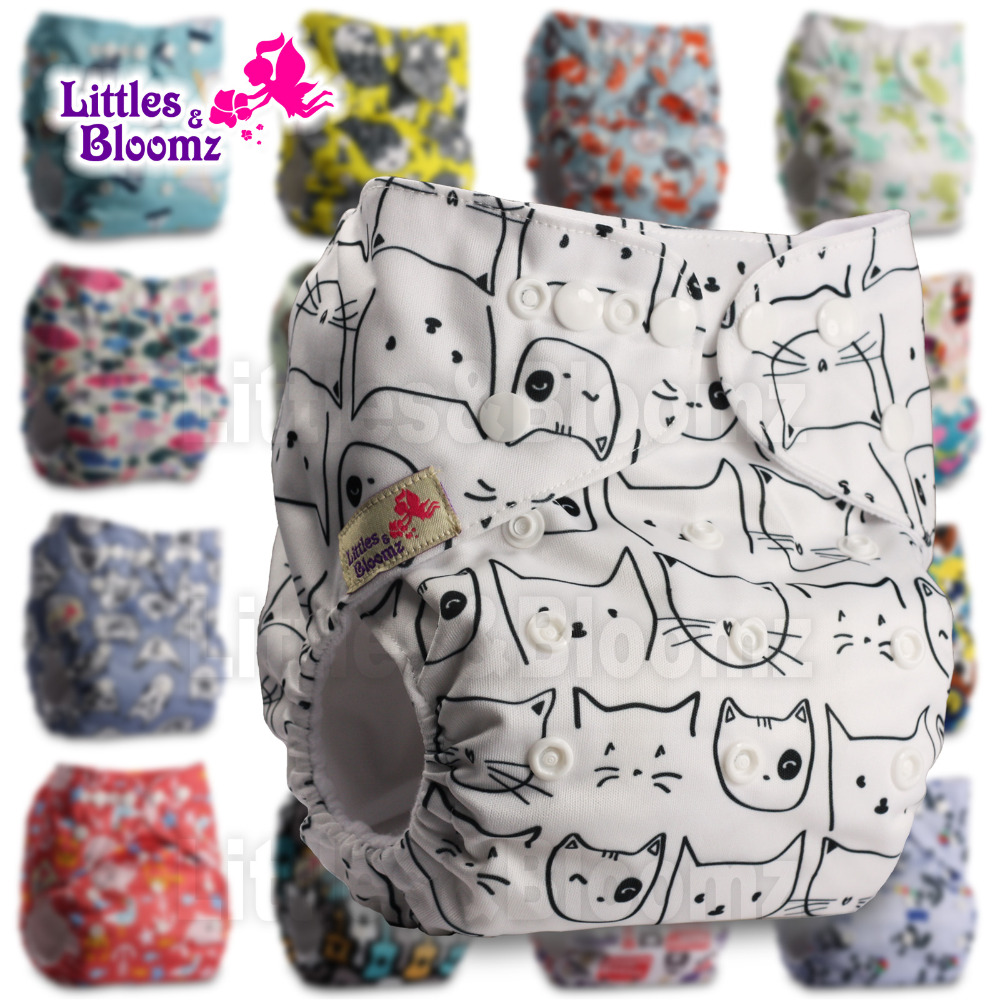 Littles&Bloomz Baby Washable Reusable Real Cloth Pocket Nappy Diaper Cover Wrap Suits Birth To Potty One Size Nappy  Inserts(China)
