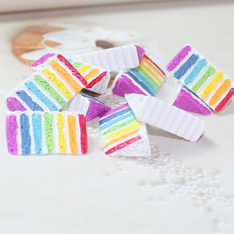 5Pcs/Lot Rainbow Cake Polymer Slime Charms Lizun Modeling Clay DIY Kit Accesorios Box Toy For Children Slime Supplies Filler