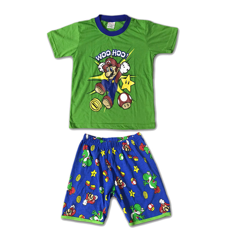 Summer Mario Luigi Bros Cotton Cartoon Nightwear Super Mario Kids Boy Costume 2pcs Set T-shirt+Shorts Cosplay Clothing Pajamas