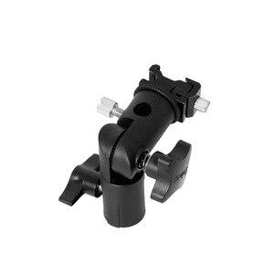 """Image 5 - E tipo de metal suporte flash universal sapato quente speedlite guarda chuva titular com 1/4 """"a 3/8"""" parafuso adaptador montagem giratória luz suporte"""