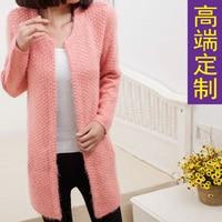 2013 Autumn And Winter Long Sleeve Sweater Medium Long Mohair Cardigan Sweater Outerwear Female