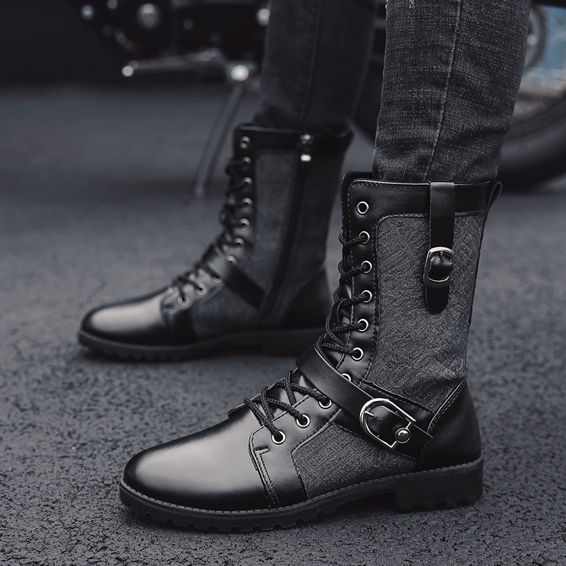 New Style Autumn Winter Punk Martin Boots Men Fashion PU Leather Motorcycle Boots Black Vintage High Top Buckle Boots Men Shoes new punk high top pointed toe men martin boots fashion short british style vintage winter boots outdoor height increaseing shoes page 2 page 3