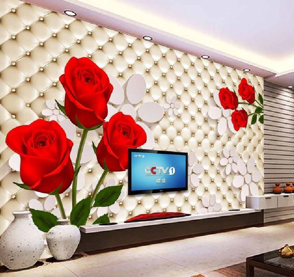 Romantic Red Rose on Soft Roll Wallpaper 3d Wall Mural Rolls for Hotel Cafe Restaurant KTV Bar SPA Salon Bedroom Living Room 3d rock n roll music it s my time any size custom wallpaper mural rolls hotel restaurant coffee bar ktv living room background