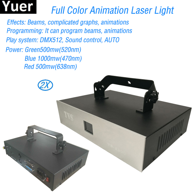 2Pcs/Lot Club DJ Disco Projector Light Stage Laser Lamp 2W Full Color Animation Laser Light For KTV bar dj disco party Lights