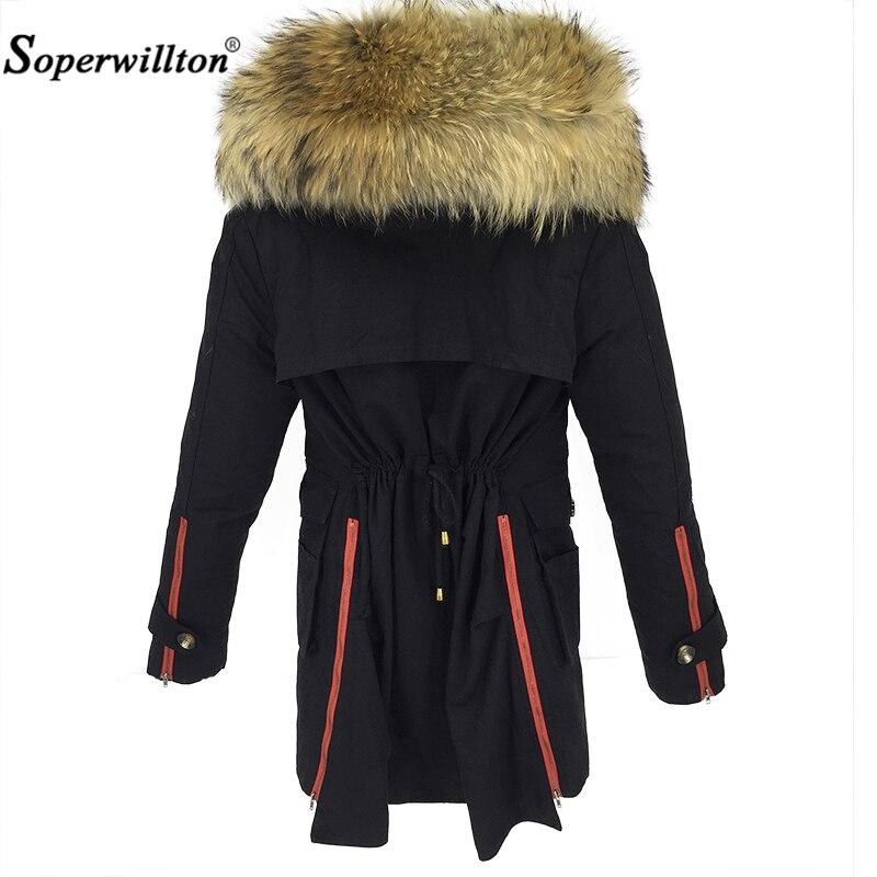 2018 New Winter Jacket Women Coat Luxury Real Large Raccoon Fur Hooded Collar Ladies Lining Long outwear Parkas Black Army Green