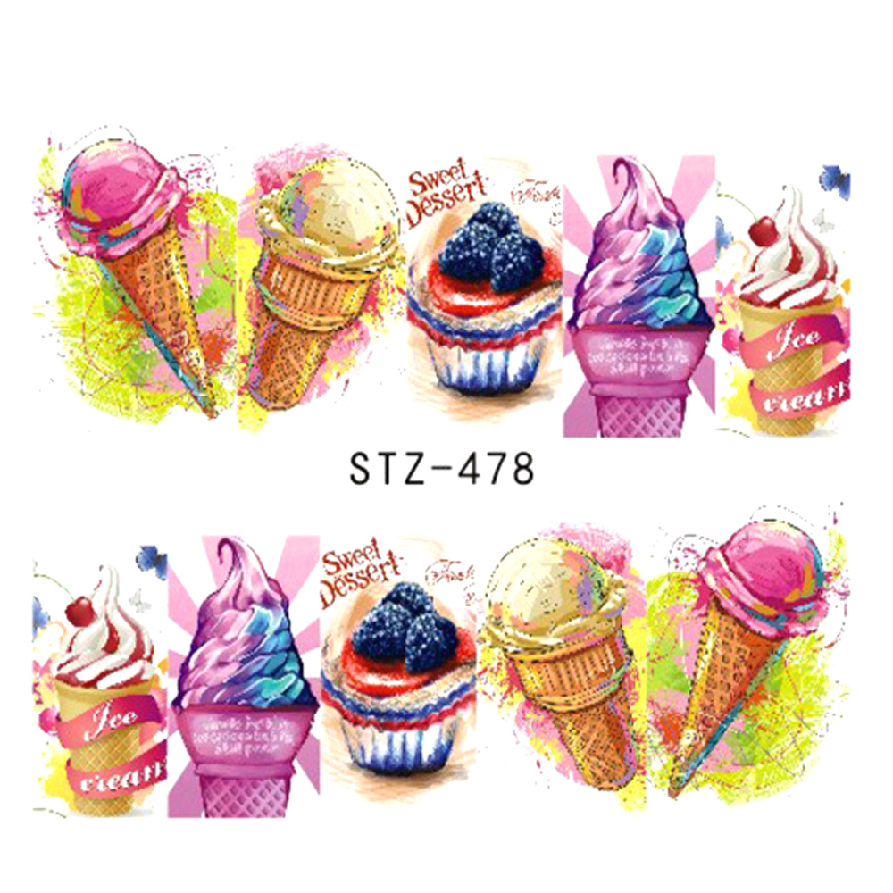 1 Sheets Nails Art Stickers Manicure Summer Slider Ice Cream Drink Fruit Stickers For Nails DIY Decor Tattoo TRSTZ478-486