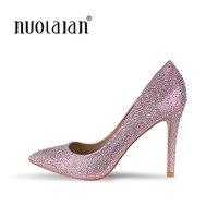 Top Quality Rhinestone High Heels Shoes 2017 Women Pumps Sexy Pointed Toe Crystal Women Shoes Chaussure Escarpins