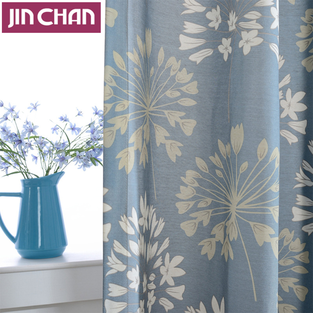 Blue Flower Polyester Blackout Window Curtains Drapes Shades for ...