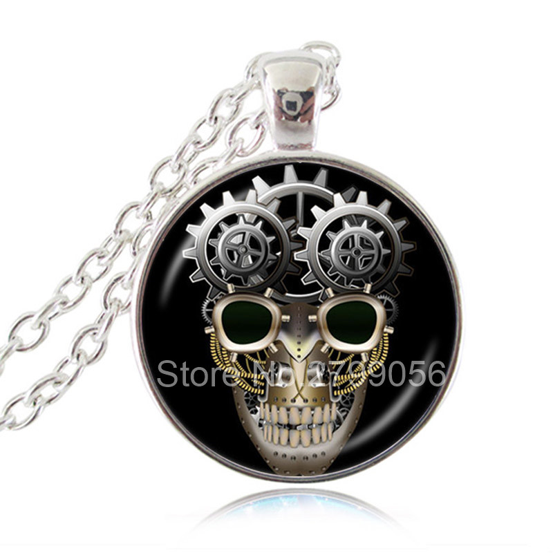 Steampunk Skull Gear Pendant Necklace Gothic Jewelry Fashion Accessories for Women Men Glass Cabochon Choker Neckless Women Gift