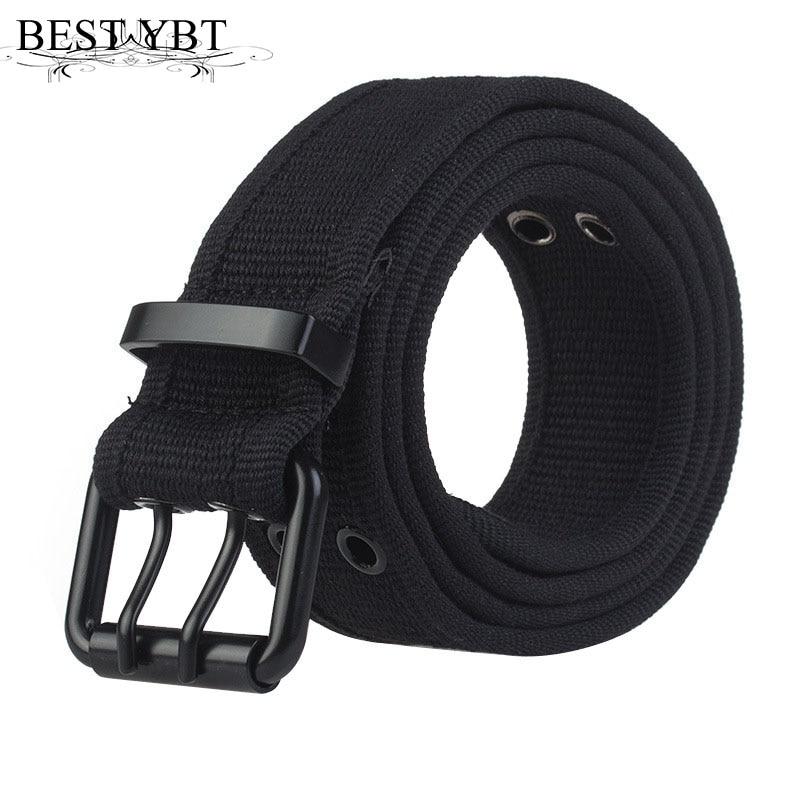 Best YBT Unisex belt high quality Alloy double pin buckle canvas Men belt fashion simple Men and Women sport cowboy casual belt