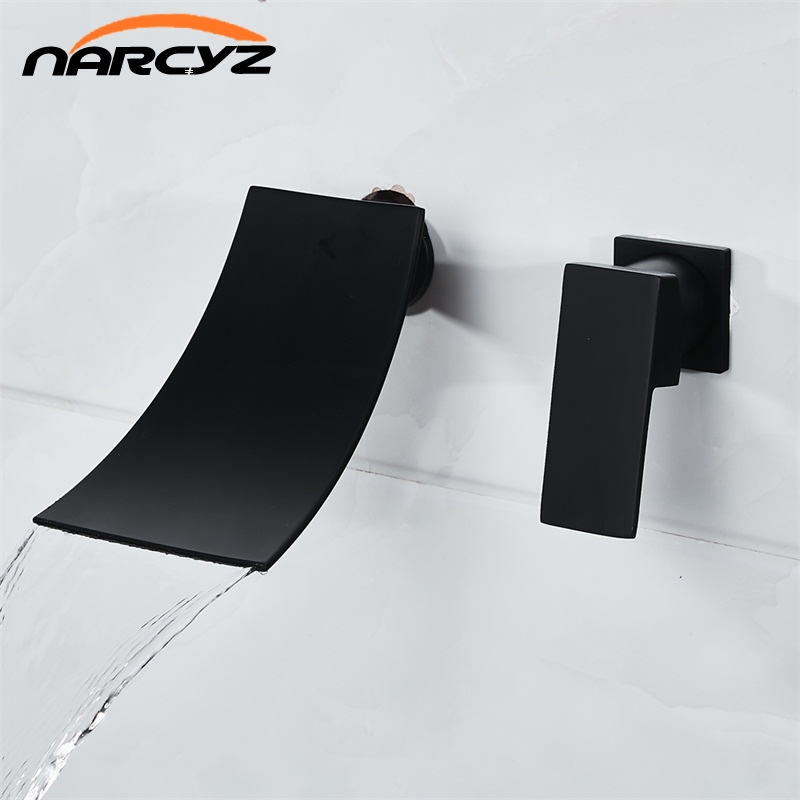 Bathroom faucet Black Waterfall basin faucet Into the wall washbasin water tap Single handle Double hole basin faucet XR8226 wall of the cold and hot water tap copper concealed washbasin single hole basin faucet stainless steel waterfall faucet lt 304 4