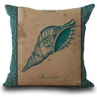 Factory Supply Mediterranean Style Hippocampus Starfish Conch Linen Cotton Throw Pillow Cushion For Chair Seat Hotel Decor