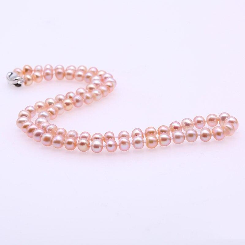 """2019 Mode Jyx 6-7mm Multicolor Perle Halskette 925 Silber Natürliche Süßwasser Perle Halskette Frauen Halsband Halskette 18 """"( Weiß Lila Rosa) Wir Haben Lob Von Kunden Gewonnen"""