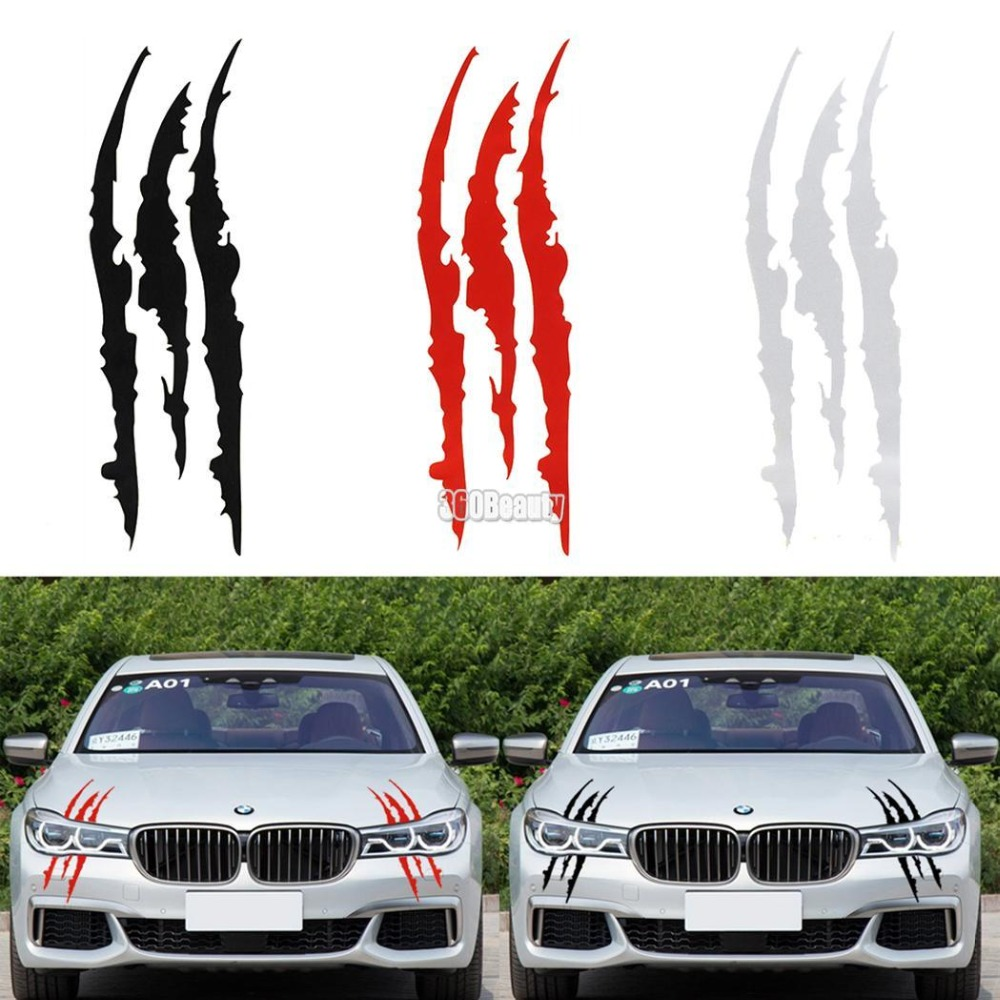 Sailnovo 40cm12cm funny car sticker reflective monster scratch stripe claw marks car auto headlight