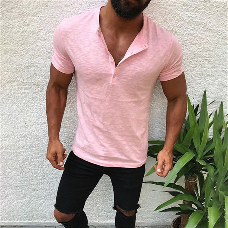 Hot Men/'s Slim Fit V Neck Long Sleeve Muscle Tee T-shirt Casual Top Henley Shirt