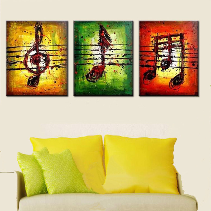 3 Panel Canvas Painting Colorful Graffiti Musical Notes Pictures Modern Home Decor Wall Art Handpainted Abstract Oil Paintings