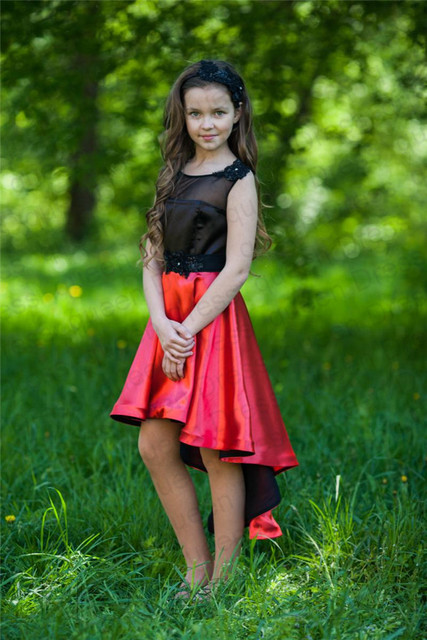 a12971f38875 Wedding New Model Black Red Short Front Long Back Satin Little Fancy Queen  Competition Of 9 Years Old Flower Gossip Girl Dresses