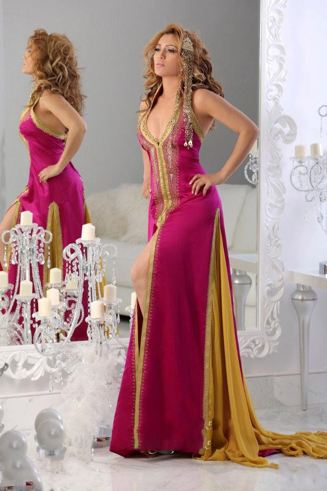 <font><b>V</b></font> Neck Off The Shoulder With Beaded Natural High Slit Floor Length A Line Evening Dresses 2014 Robe De Soiree Arabic Dress