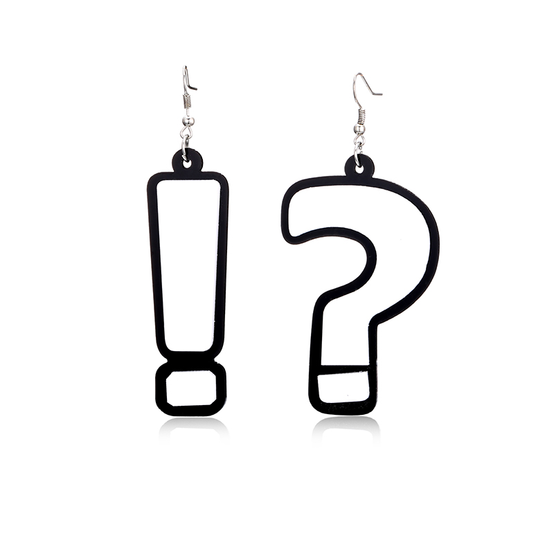 H:HYDE Creative Dangle Earring For Women brincos Exclamation Question Mark Hip Hop Style Ladies Long Dangling Earing pendientes