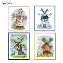 Joy Sunday Four Seasons Windmill Cross Stitch Fabric Aida 14ct 11ct Ptinted On Canvas Counted Kits For Embroidery