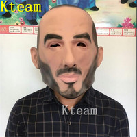 Top Grade Funny Halloween Party Cosplay Famous person Man David Beckham Face Mask Party Real Human Face Mask Cool realistic mask