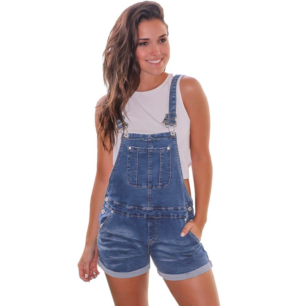 2019 New Loose Denim Bib Female Summer Women's Casual High Waist Large Size Denim Short Female Sequined Strap Jeans Suspenders