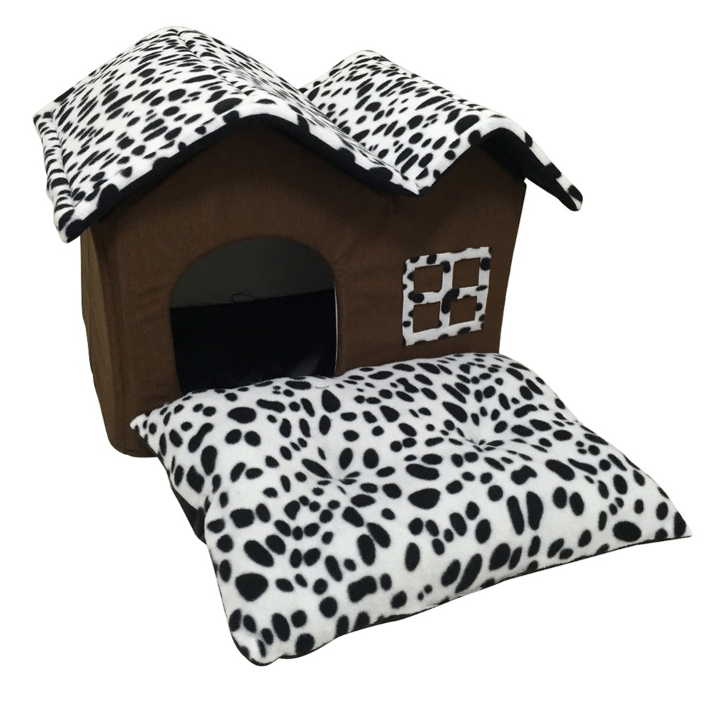 2017 New Luxury Indoor Dog House Double Room Dog Kennel Pet Puppy Cat Bed House Winter Warm Rooms image