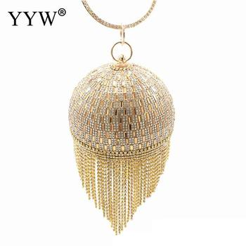 Golden Diamond Tassel Women Party Metal Crystal Clutches Evening Bags Wedding Bag Bridal Shoulder Handbag Wristlets Clutch Purse green crystal diamond flower floral purse fashion wedding bridal hollow metal evening purses clutch bag case box handbag female