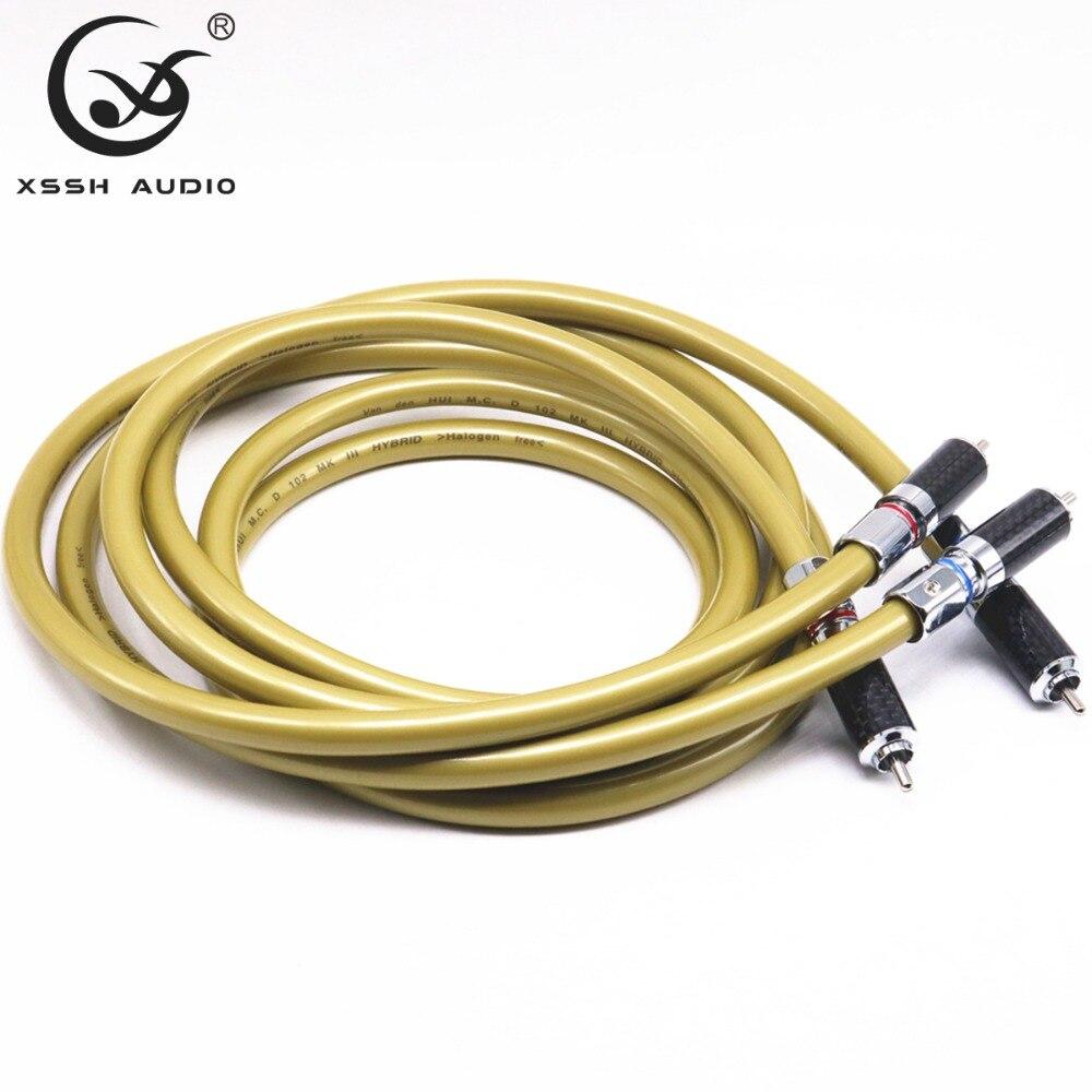 1 paire RCA à RCA haut de gamme 2 cœurs * 2.8mm OFC OCC cuivre H bouclier 8mm câble Audio RCA fil de ligne pour amplificateur de puissance lecteur CD