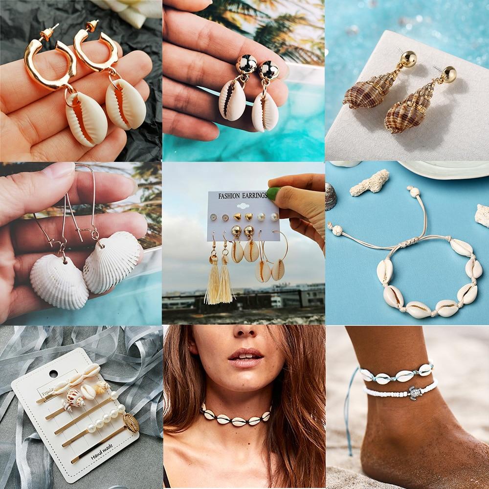 IF ME Fashion Sea Shell Pearl Earrings For Women Bohemian Gold Metal Cowrie Conch Shell Dangle Earring Ocean Female Jewelry 2019