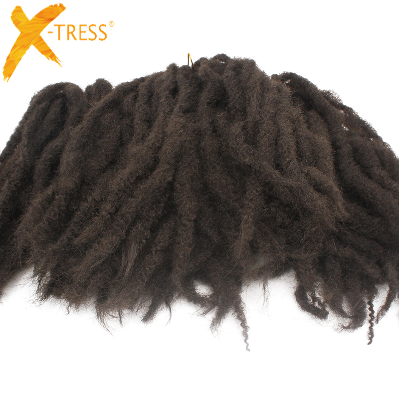 "X-TRESS Soft Afro Kinky Marley #2 Brown Kanekalon Braiding Hair 1 Piece 18"" Synthetic Crochet Marly Braids Hair Extensions"