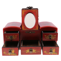 Retro Jewelry Armoire Cabinet Box Storage Old Drawer Chinese Wooden Dressing Table with 5 Drawers and Top Mirror
