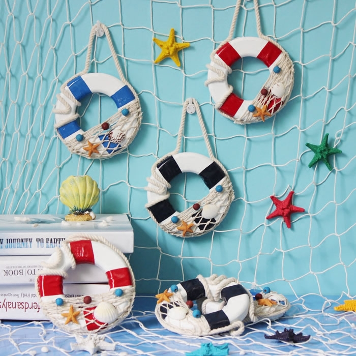 3pcs/lot Fashion Mediterranean Wooden Wall Decor Life Buoy S 14CM Safe Ring Home & Shop Wall Swimming circle Ring Decor ...