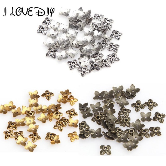 100pcs Leaf Metal Bead End Caps For Jewelry Making Gold Silver Color Tone Beads Caps Diy Accessories Supplies Jewelry Wholesale