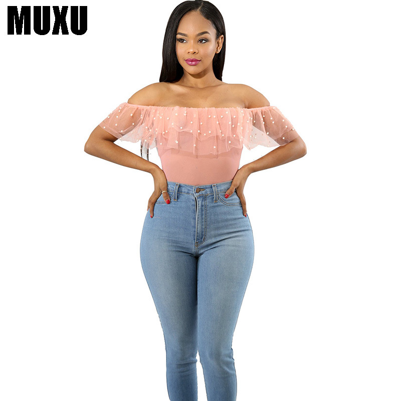 NUXU summer Sexy Perspective Gauze Nail Strapless Pearl tops body white womens ladies ruffle transparent chiffon women blouse