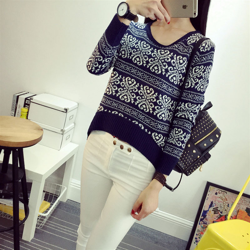 2018 new Fashion Women Pullover Snowflake Print Long Sleeve Knitted Sweater Female Christmas Sweaters Lady Tops SW527