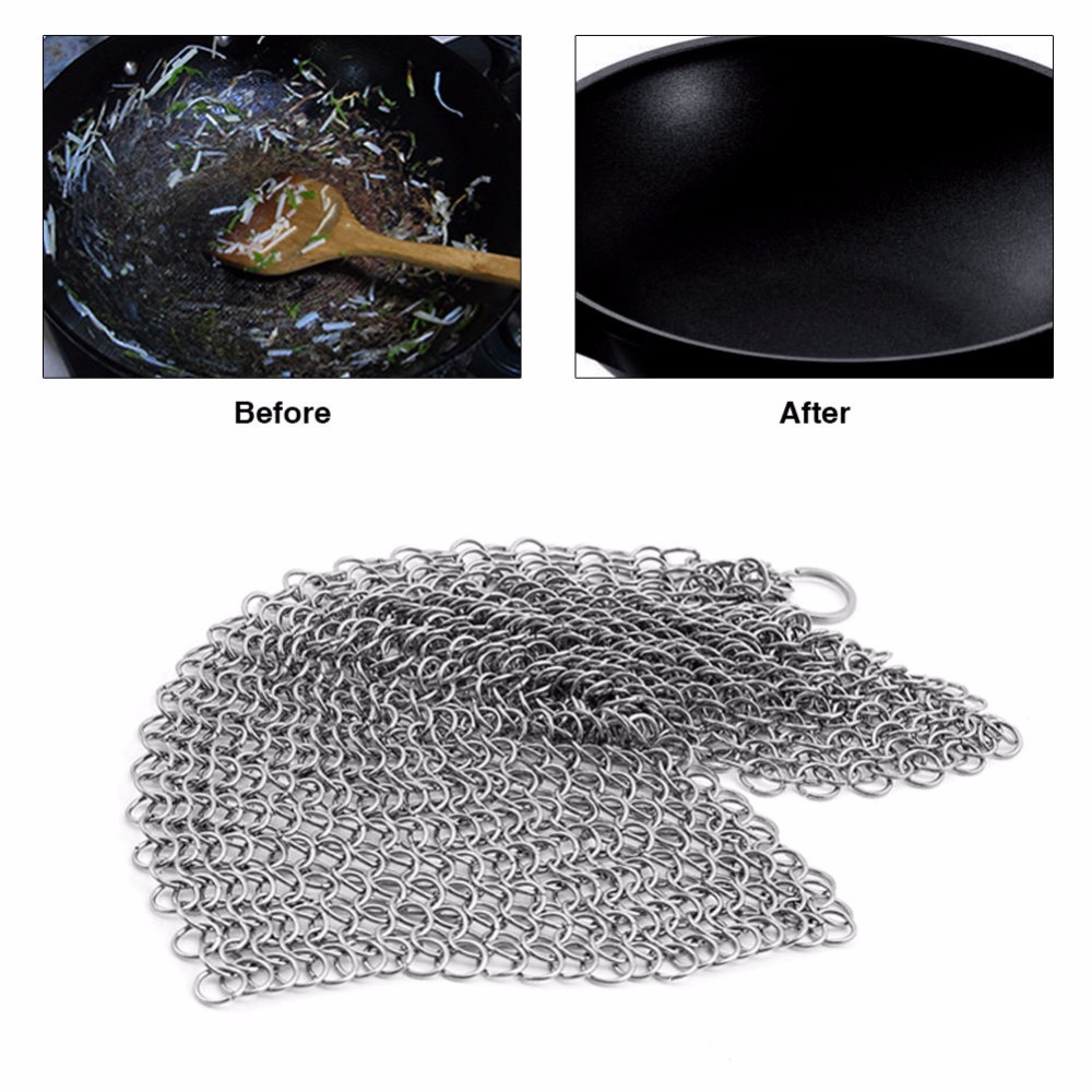 Kitchen Tools Helper Ringer Cast Iron Cleaner Stainless Steel Chainmail