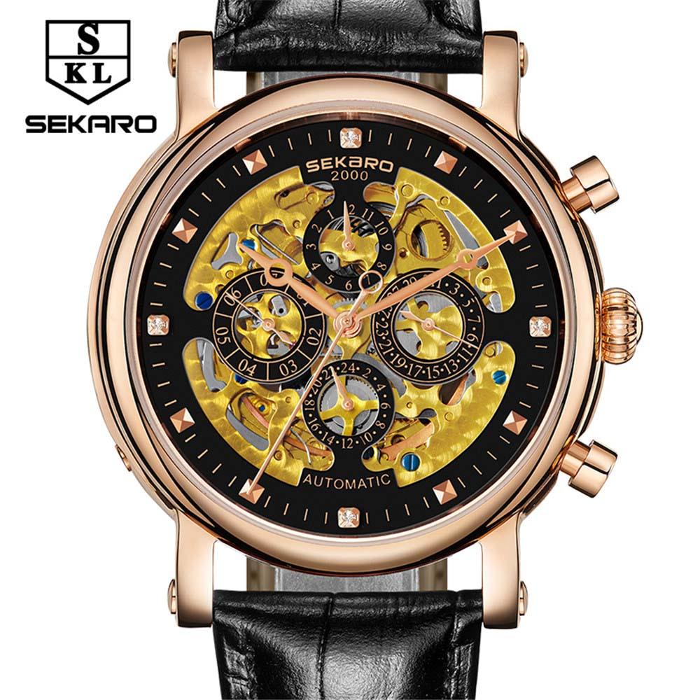 SEKARO para colorear Acero Inoxidable Multifunción 7 pines Relojes - Relojes para hombres - foto 2