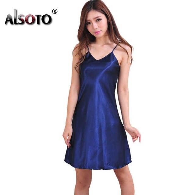 0e048b339 Summer Fashion mulheres camisola Sexy V Neck mangas correias cor sólida  fino pijamas 8 cores Nightdress ...