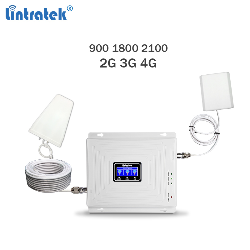 2018 new triband celular signal booster 900 1800 2100Mhz gsm mobile signal repeater 3g 4g lte cellphone amplifier 65dBi #5.9