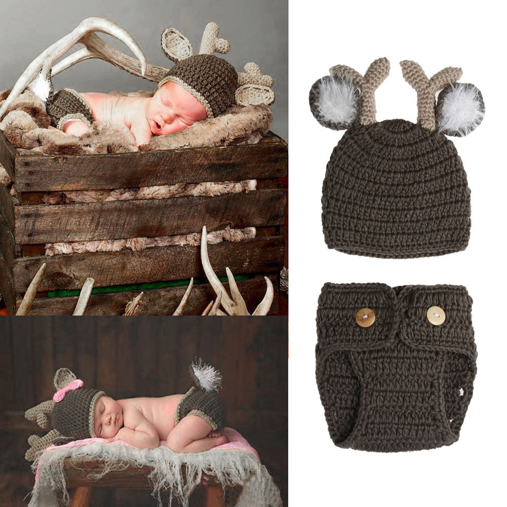 Newborn Baby Photography Props Infant Knit Crochet Costume Dark Grey Soft Outfits Deer Antlers Beanie+Briefs Baby Clothes Props newborn baby photography props infant knit crochet costume peacock photo prop costume headband hat clothes set baby shower gift page 2
