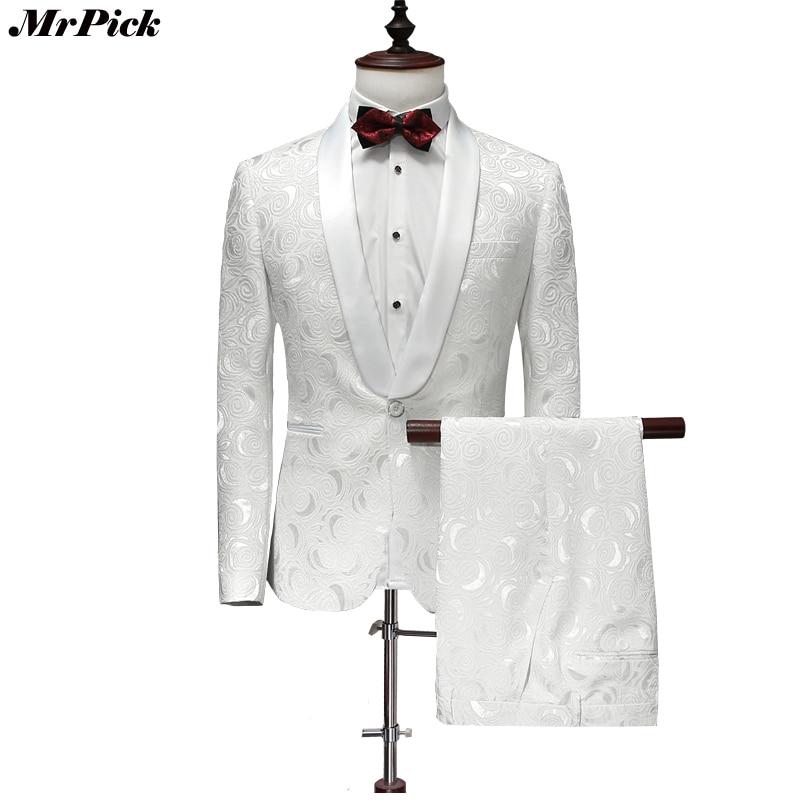 Здесь продается  (Jacket+Pants) 2017 New Men Tuxedo Fashion Designer Brand White Floral Flower Suits  Одежда и аксессуары