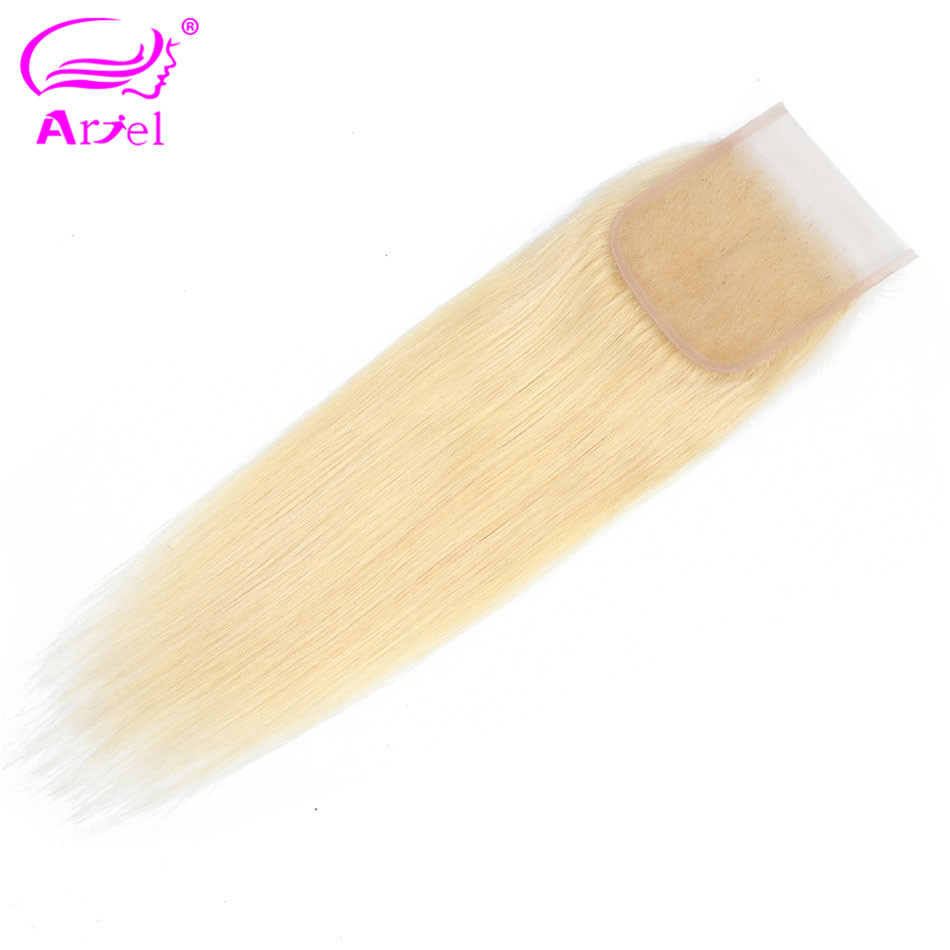 ARIEL Lace Closure Hair-Extension Blonde Human-Hair Straight Remy Natural-Color Middle/free-Part
