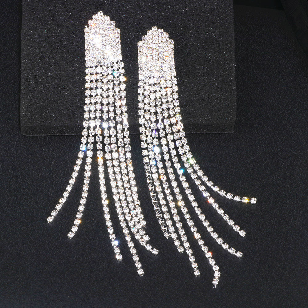 New Trendy Bride Rhinestone Long Tassel Earrings Luxury Crystal Big Drop Dangle Earrings For Women Wedding Party Jewelry WX182