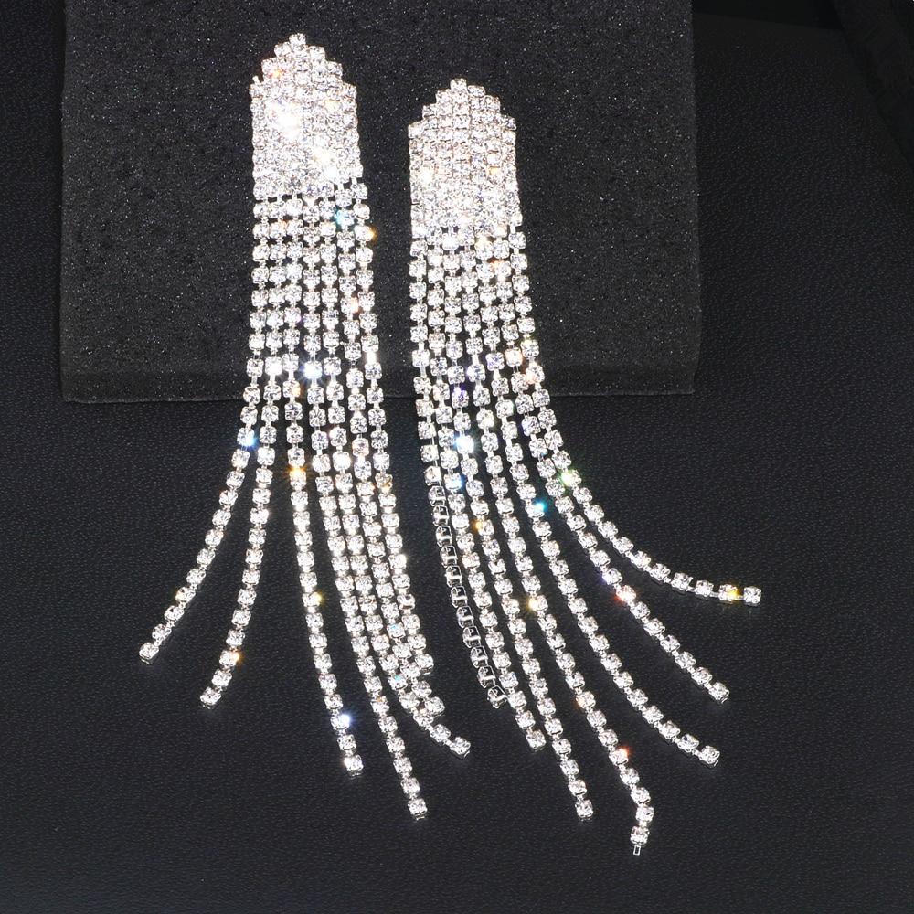 New Trendy Bride Rhinestone Long Tassel Earrings Luxury Crystal Big Drop Dangle Earrings For Women Wedding Party Jewelry WX182