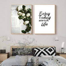 Scandinavian Posters and Prints White Rose Flower Wall Art Quotes for Living Room Painting Home Decor Pictures Decoration